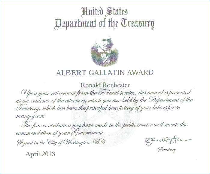 Gallatin Award-RRochester. for Police Commissioner of Port Washington New York